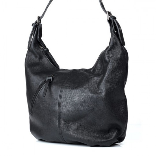 Leather Hobo Slouch Bag Black