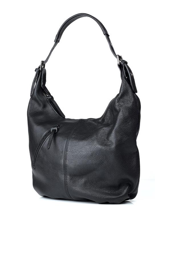 Leather Hobo Slouch Bag Black