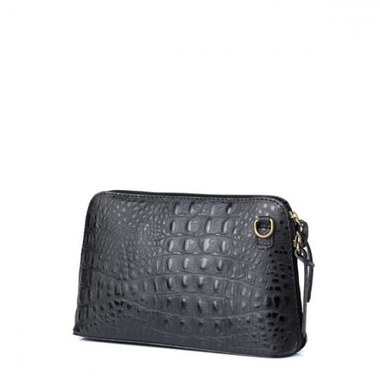 Leather Croc Crossbody Black