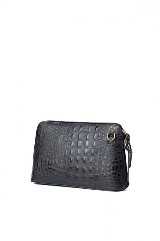 Leather Croc Crossbody Bag Black