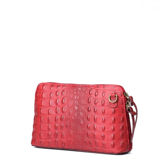 Leather Croc Crossbody Dark Red