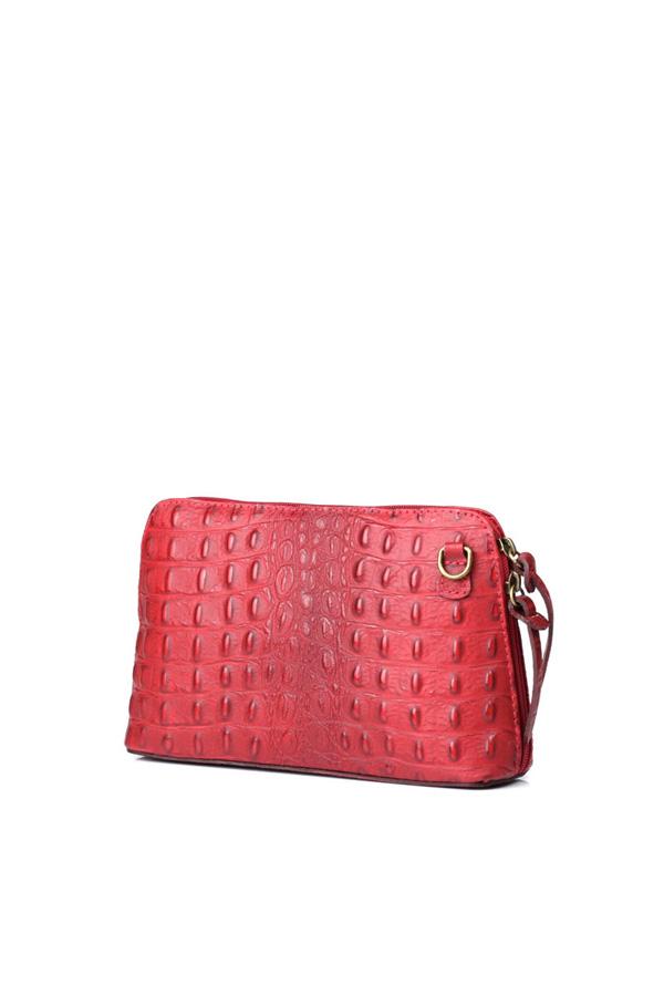 Leather Croc Crossbody Dark Red