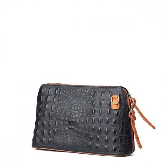 Leather Croc Crossbody Black-Tan