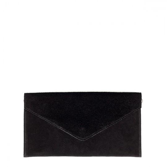 Suede Envelope Clutch Black