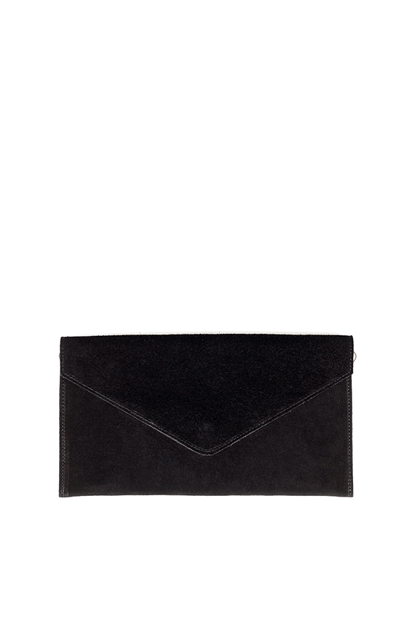 Suede Envelope Clutch Black