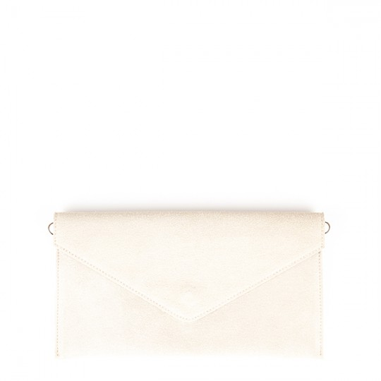 Suede Envelope Clutch Cream
