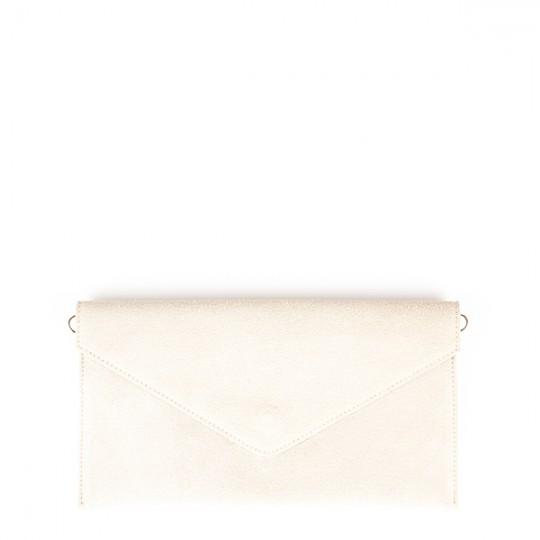 Suede Envelope Clutch Cream