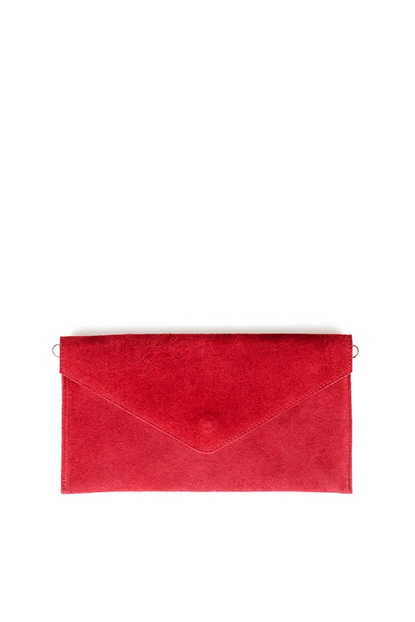 Suede Envelope Clutch Dark Red