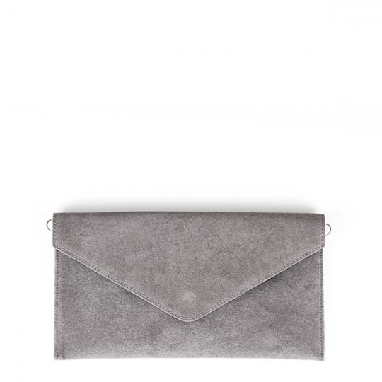 Suede Envelope Clutch Grey