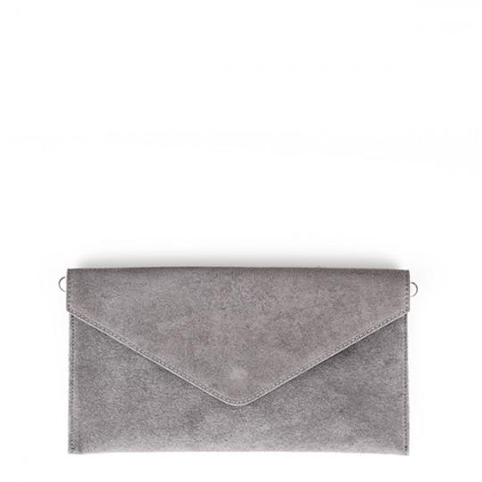 Suede Envelope Clutch Grey