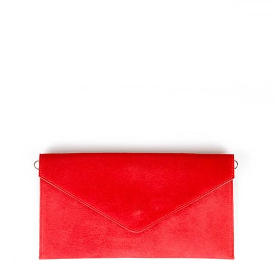 Suede Envelope Clutch Red