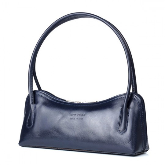 Leather Shoulder Bag Navy