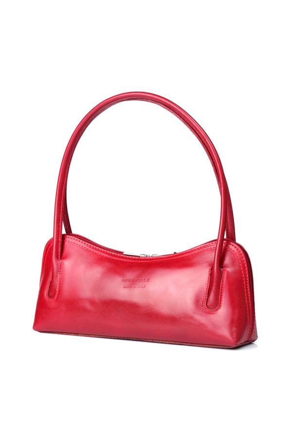 Leather Shoulder Bag Red