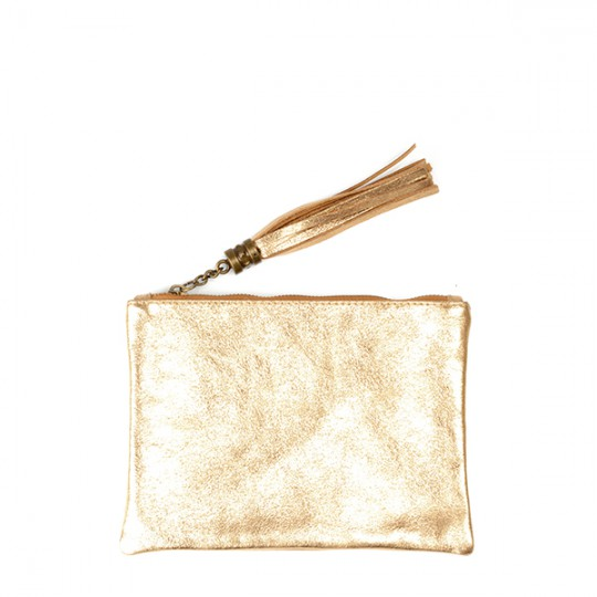 Metallic Leather Flat Clutch Gold