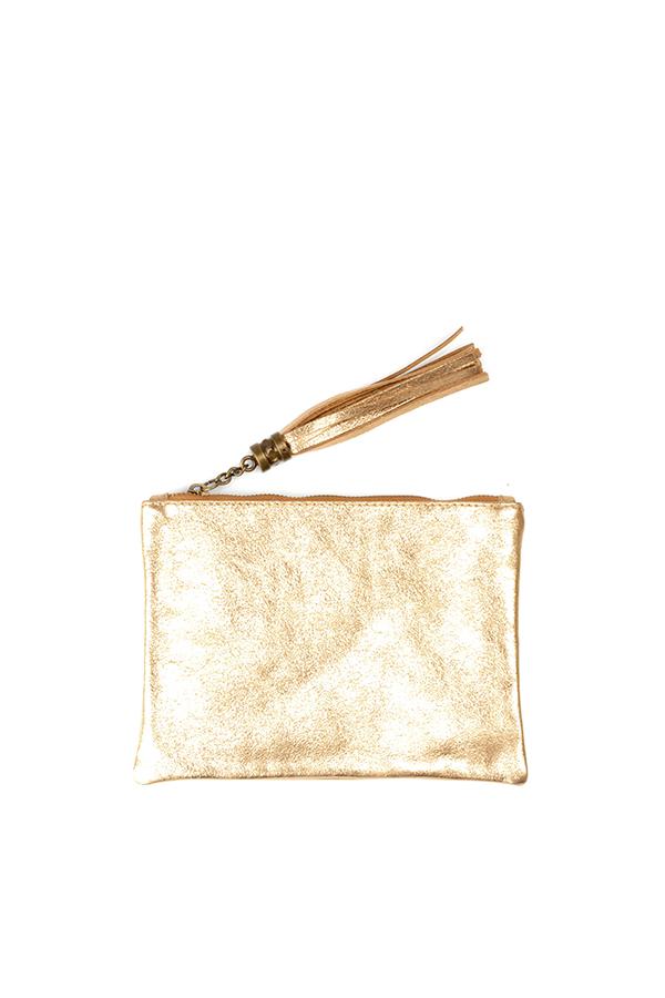 Metallic Leather Flat Clutch Gold
