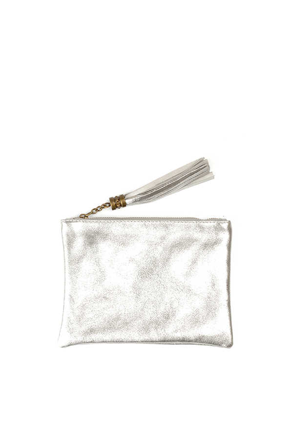 Metallic Leather Flat Clutch Silver
