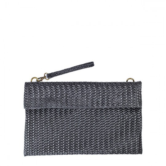Weave Leather Clutch Black