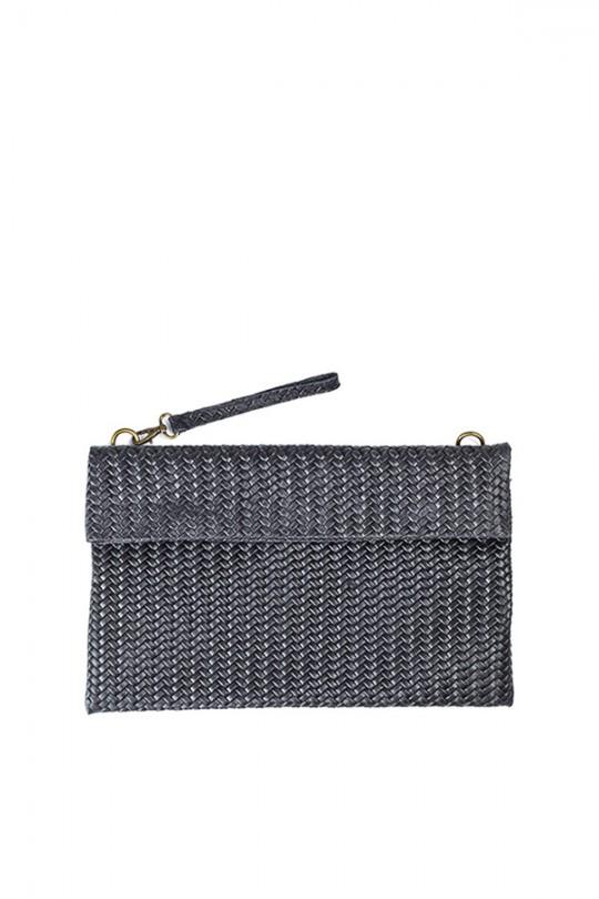 Weave Effect Leather Clutch Black