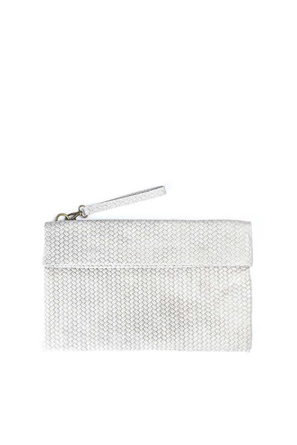 Weave Leather Clutch Grey